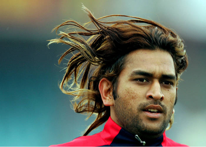 MS Dhoni long hairs